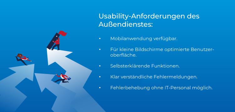 Usability-Anforderungen des Außendienstes.